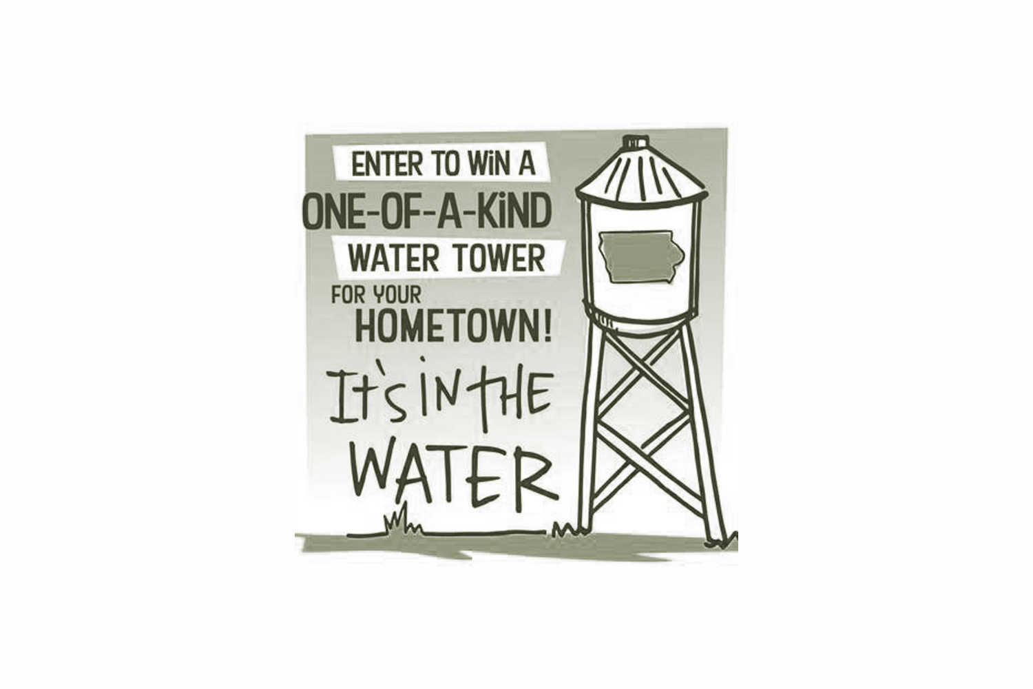 A monochromatic drawing of an advertisement for a water tower design contest.